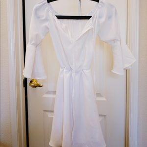 Asos off shoulder white ruffle dress